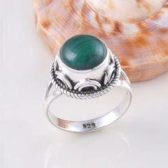 sell 925 STERLING SILVER NEW STYLISH MALACHITE RING 5.28g DJR2427 S-7 #Handmade #Ring