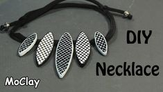 DIY white and black necklace with web decor - Polymer clay tutorial