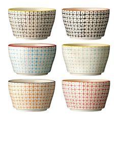 Bloomingville Carla skål med mønster i sæt af 6 forskellige farver d5db7db25387a