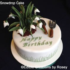 Birthday cake with sugarpaste snowdrops and fork & trowel set by Edible Creations by Rosey