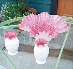 Lovely 3 piece Fenton Hobnail Milk Glass Set by StoneMtnVintage, $67.00