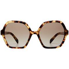 Prada Oversize Tortoiseshell Sunglasses ($205) ❤ liked on Polyvore featuring accessories, eyewear, sunglasses, brown, tortoiseshell glasses, over sized sunglasses, brown tortoise shell glasses, prada eyewear and prada