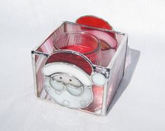 Santa Claus Stained Glass Candleholder Christmas di hobbymakers