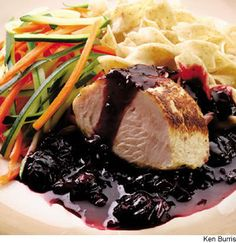 #Turkey Tenderloin with Whiskey-Cherry Sauce:  antioxidant-rich cherries and turkey tenderloin (a lean but flavorful, quick-cooking cut)