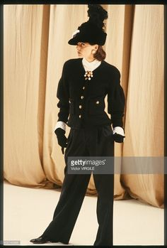 Ines de la Fressange walks the runway during the Chanel Haute Couture show as part of Paris Fashion Week Fall/Winter 1988-1989 in July, 1988 in Paris, France.