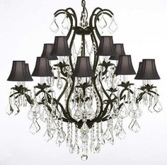 """Wrought Iron Chandelier Crystal Chandeliers Lighting H36"""" X W36"""" With Shades - A83-Blackshades/3034/10+5"""