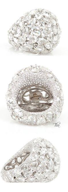 Arunashi  ● Resort 2015, Diamond Dome Ring With White Rose Cut And Full Cut Diamonds