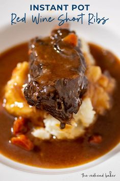An Instant Pot makes red wine-braised short ribs fall-off-the-bone tender in just 45 minutes. Serve over mashed potatoes for a classic comfort meal. dinner instant pot Instant Pot Short Ribs in Red Wine Recipe by The Redhead Baker Crock Pot Recipes, Slow Cooker Recipes, Beef Recipes, Cooking Recipes, Healthy Recipes, Healthy Food, Short Rib Recipes Crockpot, Beef Ribs Recipe, Recipies