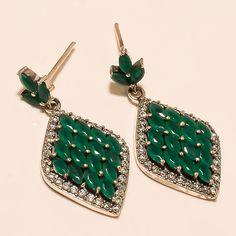 Natural Zambian Emerald Gemstone 925 Sterling Silver Earring Cocktail Jewelry AA #Handmade #DangleDrop #EasterGift