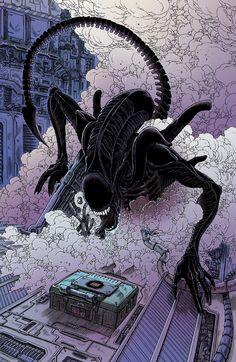 comics,comicbooks-Aliens - Dead Orbit 1 by Dark Horse Comics. Written and illustrated by James Stokoe. Darkhorse Comics, Arte Alien, Alien Art, Xenomorph, Star Wars Poster, Star Wars Art, Star Trek, Arte Horror, Horror Art