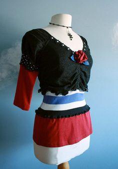 Women's Black Burgundy Upcycled Top Shirt V-Neck Striped Small Medium 'CHRISTY' by Brokenghostcouture $40.94