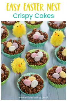 Cute and easy Easter nest crispy cakes recipe - fun Easter recipe for kids with free printable recipe sheet Easter Snacks, Easter Treats, Easter Recipes, Easter Food, Chocolate Crispy Cakes, Crispy Cake Recipes, Printable Recipe, Free Printable, Recipe Sheet