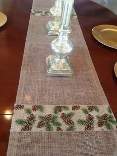 Christmas Table Runner  Burlap with by ChicAndTotallyUnique, $25.00
