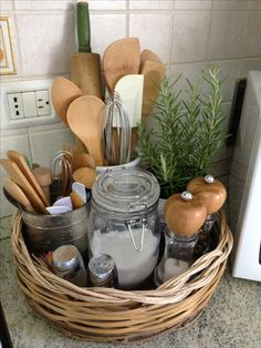 #Kitchen basket great way to keep things together that look great too... http://www.warmwelcomeproperties.com
