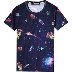 Large Planet print Men's bowling shirt in 10 sizes o16Ht8Uq