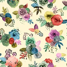 Tropical Blooms fabric by angelger28 on Spoonflower - custom fabric