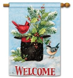 "Holly Hat  House Flag - 28"" x 40"" - 2 Sided Message"