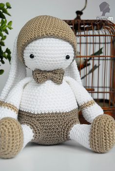 "Lulu Papillon Bunny - Free Amigurumi Pattern ( English and French) - PDF Pattern - Click to ""download"" here: http://www.ravelry.com/patterns/library/lulu-papillon"