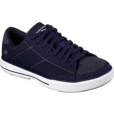 Skechers Men's Arcade - Vontae Navy - Skechers ($70) ❤ liked on Polyvore featuring men's fashion, men's shoes, navy, mens shoes, mens mesh shoes, navy blue mens shoes, skechers mens shoes and mens lace up shoes