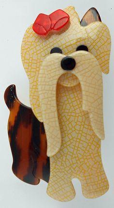 Lea Stein Moustache Maltese Terrier Dog Pin Brooch