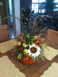 Fall Pumpkin Arrangement Thanksgiving by GreatwoodFlorals on Etsy