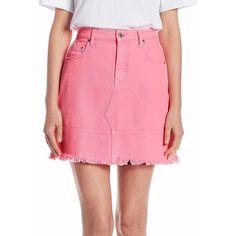 MSGM Neon Denim Mini Skirt (840 RON) ❤ liked on Polyvore featuring skirts, mini skirts, long denim skirt, neon pink mini skirt, zip front skirt, denim skirts and pink denim skirt