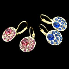 Flash Deal Earrings Crystal Jewelry Brincos Gold Color With Pink Blue Rhinestone Drop Earrings for Women
