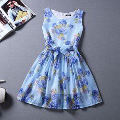 New Summer Fashion Floral Sleeveless Dress Slim