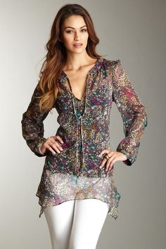 Sheer tunic in a print that doesn't make me cringe.