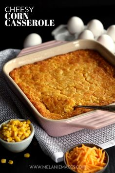 This comforting six cheesy cornbread Cheesy Corn Casserole takes just 10 minutes to prepare and will be requested for Sunday dinner, holiday dinners or any day ending with the letter Y. Thanksgiving Side Dishes, Thanksgiving Recipes, Holiday Recipes, Dinner Recipes, Thanksgiving 2016, Christmas Dishes, Holiday Meals, Fall Recipes, Christmas Time
