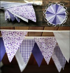 40ft (12m) JILPI  PRETTY PURPLE  FLORAL CHECK FABRIC BUNTING, VINTAGE CHIC