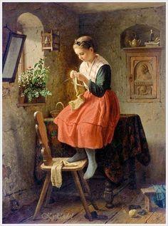 Johann Georg Meyer von Bremen (German, 1813 – 1886) «Girl knitting by a window»