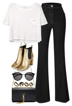 """""""Untitled #2001"""" by roxy-camarena ❤ liked on Polyvore featuring Yves Saint Laurent, MANGO, Topshop and ALDO"""