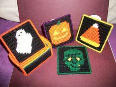 Halloween plastic canvas coasters