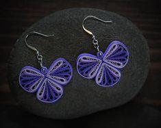 Purple earrings/ Quilling earrings/ Paper jewelry/ Purple Jewelry/ Wedding jewelry/ Bridesmaid Jewelry/ Purple/ Handmade earrings/ Quilling