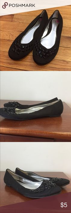 Rampage Ballet Flats Worn only for orchestra performances. Satin material with embedded black jems. Only worn a few times. Rampage Shoes Flats & Loafers