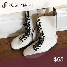 Women's Dr. Martens lace up mid-calf white boots Worn a handful of times, like new. Dr. Martens Shoes Combat & Moto Boots