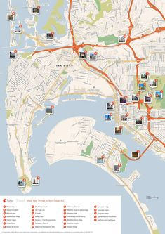Download a printable San Diego tourist map showing top sights and attractions.