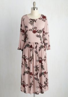 Midday Matinee Floral Dress. Before catching the latest rom-com with your bestie, you don this mauve dress for a look fitting of your own leading role! #pink #modcloth