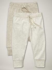 Gap Baby Clothing: Oatmeal & White Favorite Cuffed Pants Size: 3 mos. $11.97 set