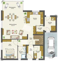 Dieses und viele Häuser mehr gibt es auf Fertighaus.de – Ihr Hausbau aus einer Hand: Schnell, preiswert und von geprüften Anbietern. Tiny House, House Plans, Sweet Home, Floor Plans, Home And Garden, How To Plan, Architecture, Homeland, Sims