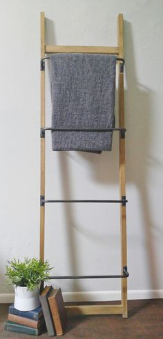 Metal and Wood Ladder Wall Rack