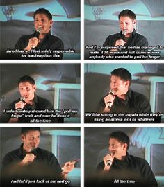 """[gifset] Jensen on teaching Jared """"pull my finger"""". This is too funny <3 #Jensen"""