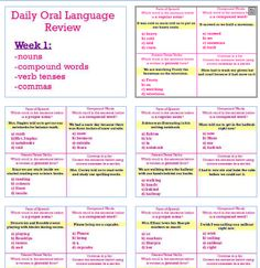 This product contains 7 WEEKS of Daily Oral Language Review :) This unit addresses the following Common Core Standards:  L.2.1a, L.2.1c, L.2.1d, L.2.1e, L.2.1f, L.2.2a, L.2.2b, L.2.2c, L.2.4b, L.2.4d, L.2.5b  You can get this in my TPT store- Smiles in Second Grade :) Reading Skills, Writing Skills, Daily Oral Language, Verb Tenses, Compound Words, Common Core Standards, Second Grade, Phonics, Grammar