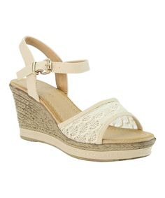 Another great find on #zulily! Bella Marie Beige Lace Espadrille by Bella Marie #zulilyfinds