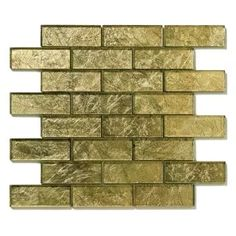 Golden Willow Gold Uniform Brick Glass Glossy Tile
