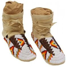 American Indian Beaded Ankle High Moccasins w. Satin Finish Beads $508.00