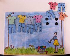 Telspel: tel de stippen van op het t-shirt en hang het juiste broekje erbij. Activities For Kids, Crafts For Kids, Teaching Skills, Office Essentials, Mamas And Papas, Schmidt, Snoopy, School, Creative