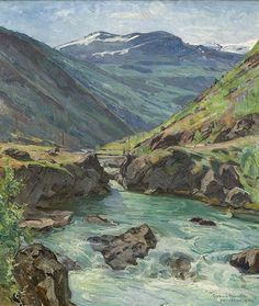 Gerhard Munthe (Norway, 1849-1929): Fra Bøverdalen 1916 Scandinavian Paintings, Scandinavian Art, Edvard Munch, Lund, Old Paintings, Landscape Paintings, Anton, Banks, Beautiful Norway