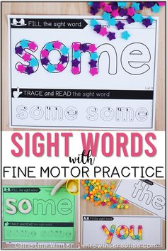 These Dolch sight word practice activities are a fun way for Pre K, Kindergarten, first grade, and 2nd graders to learn sight words while developing fine motor skills. These sight word printables can be used as worksheets as a sight word center idea, morning tubs, or small group teaching. Struggling readers will love the hands on learning sight word games and activities!  #sightwords #kindergartenreading #sightwordactivities #finemotorskills